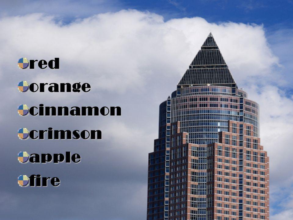 red orange cinnamon crimson apple fire
