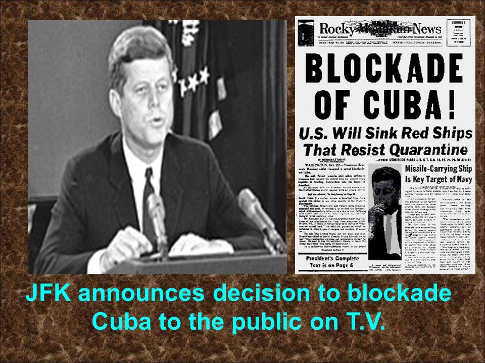 JFK announces decision to blockade Cuba to the public on T.V.