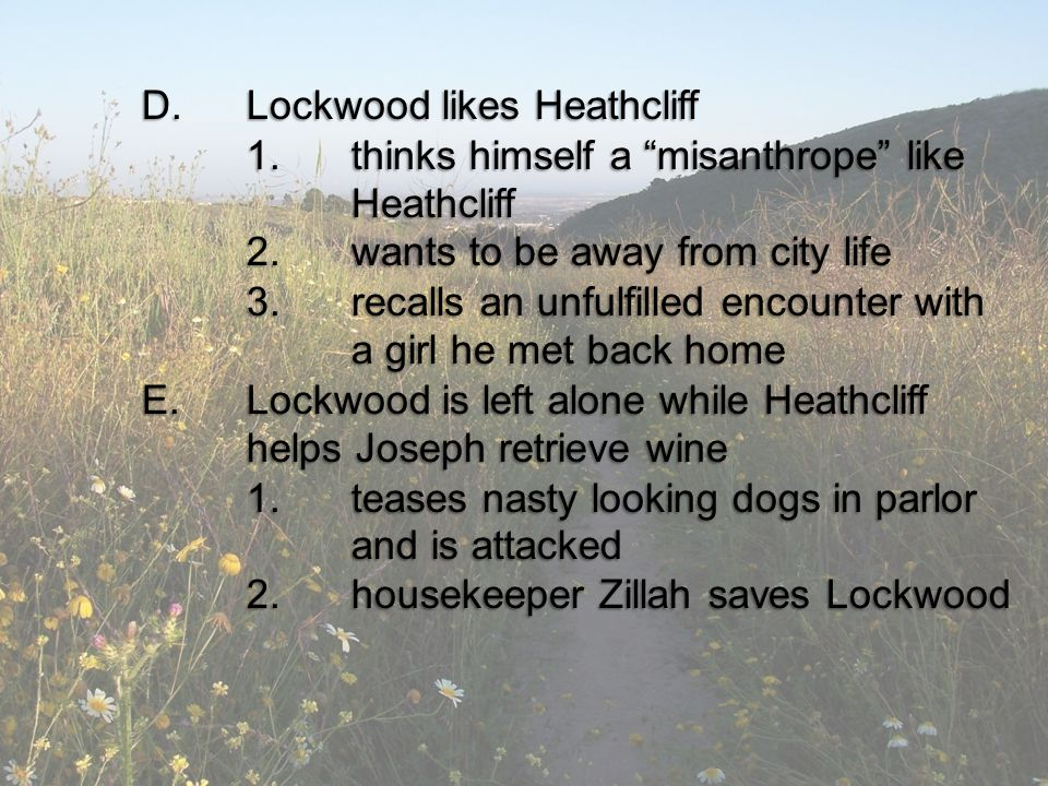D.Lockwood likes Heathcliff 1.thinks himself a misanthrope like Heathcliff 2.wants to be away from city life 3.recalls an unfulfilled encounter with a girl he met back home E.Lockwood is left alone while Heathcliff helps Joseph retrieve wine 1.teases nasty looking dogs in parlor and is attacked 2.housekeeper Zillah saves Lockwood