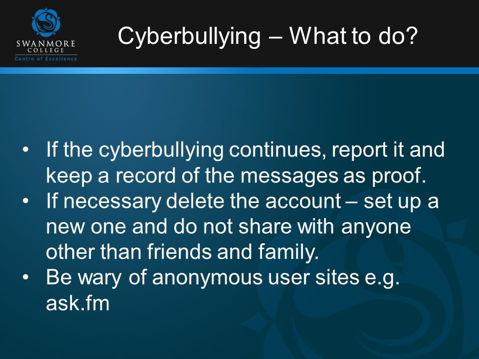 Cyberbullying – What to do.