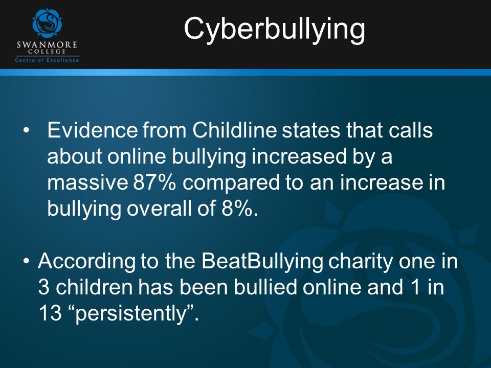 Cyberbullying Evidence from Childline states that calls about online bullying increased by a massive 87% compared to an increase in bullying overall of 8%.