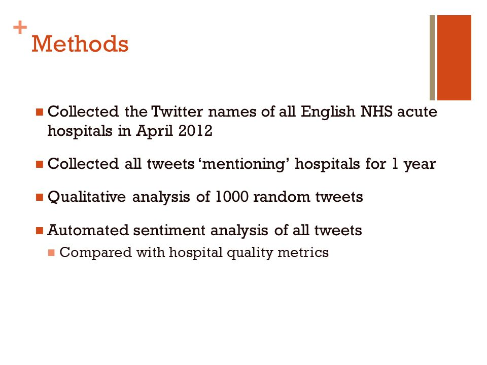+ Methods Collected the Twitter names of all English NHS acute hospitals in April 2012 Collected all tweets 'mentioning' hospitals for 1 year Qualitat
