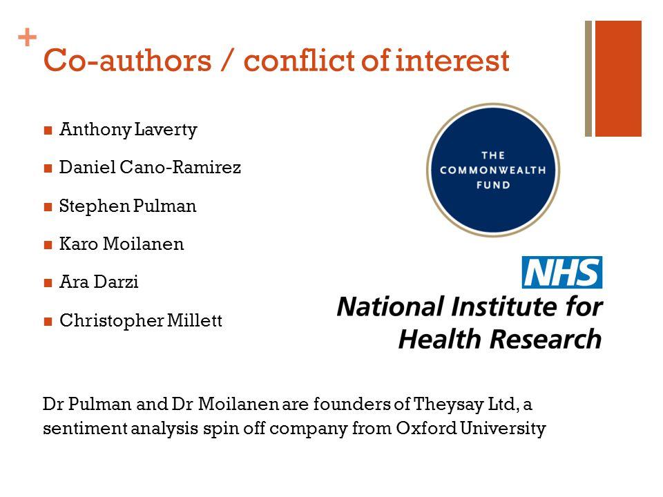 + Co-authors / conflict of interest Anthony Laverty Daniel Cano-Ramirez Stephen Pulman Karo Moilanen Ara Darzi Christopher Millett Dr Pulman and Dr Mo