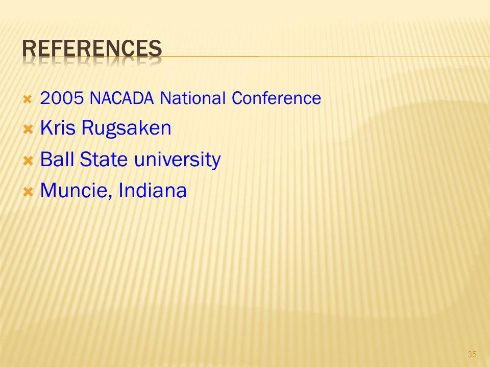  2005 NACADA National Conference  Kris Rugsaken  Ball State university  Muncie, Indiana 35