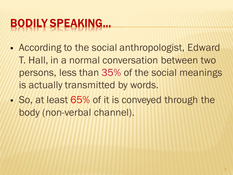 According to the social anthropologist, Edward T.