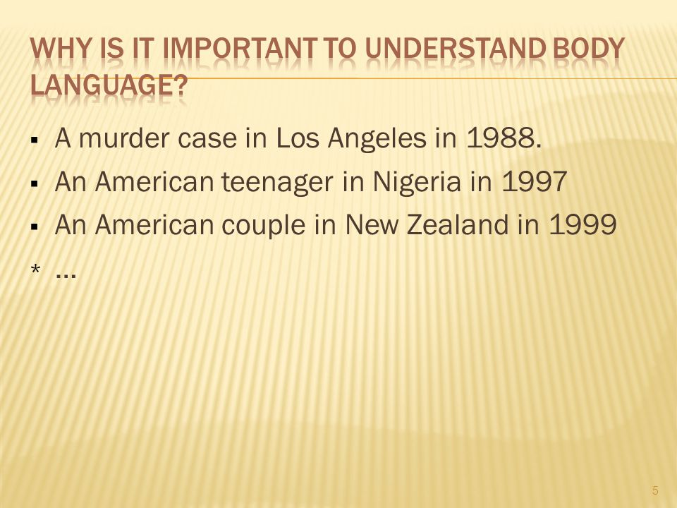  A murder case in Los Angeles in 1988.  An American teenager in Nigeria in 1997  An American couple in New Zealand in 1999 *…*… 5