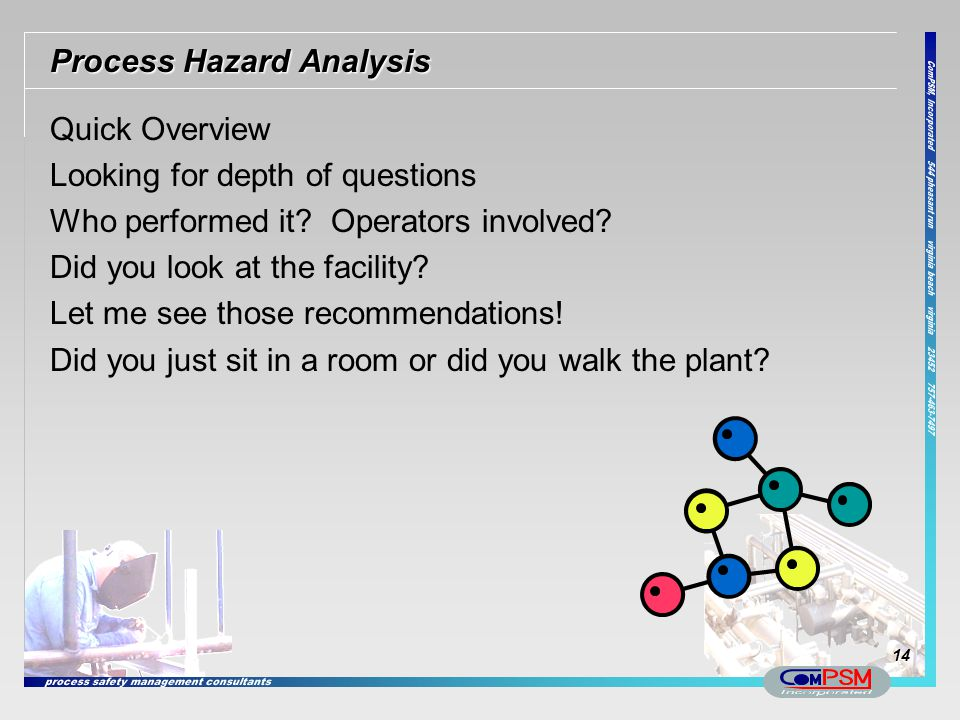 Process Hazard Analysis Quick Overview Looking for depth of questions Who performed it? Operators involved? Did you look at the facility? Let me see t