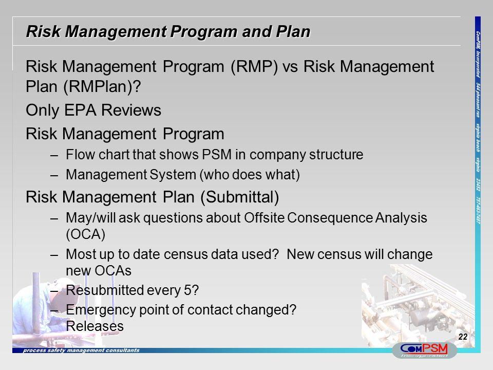 Risk Management Program and Plan Risk Management Program (RMP) vs Risk Management Plan (RMPlan)? Only EPA Reviews Risk Management Program –Flow chart