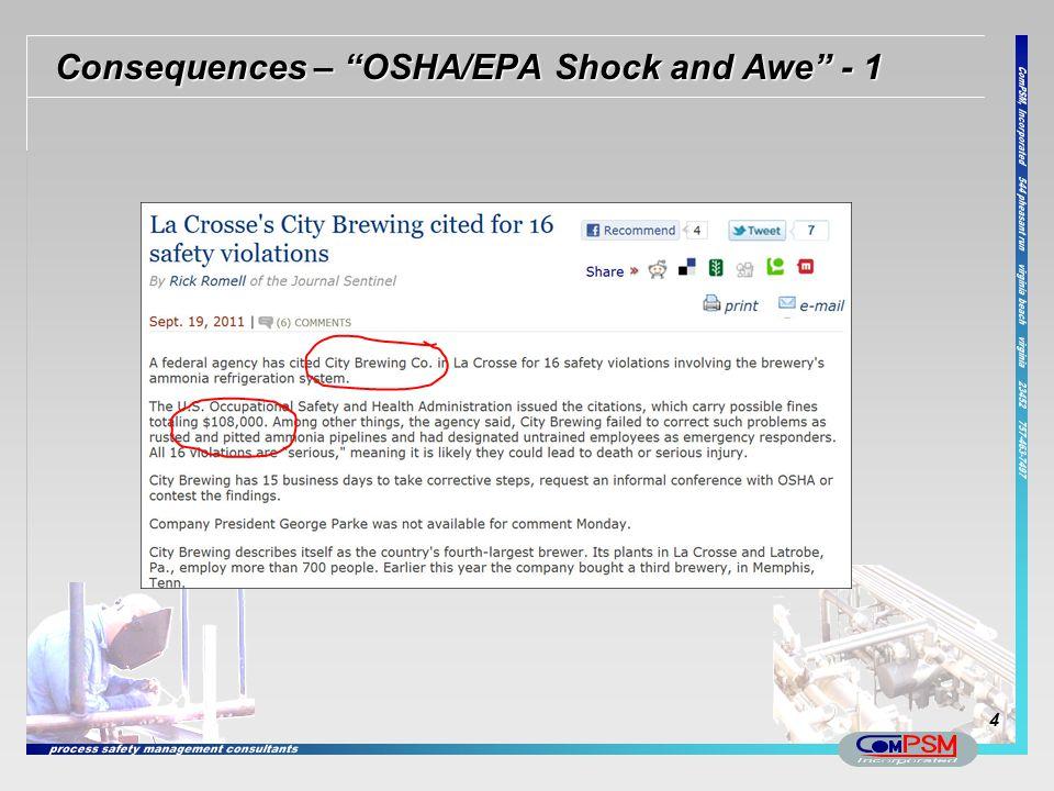 """Consequences – """"OSHA/EPA Shock and Awe"""" - 1 4"""