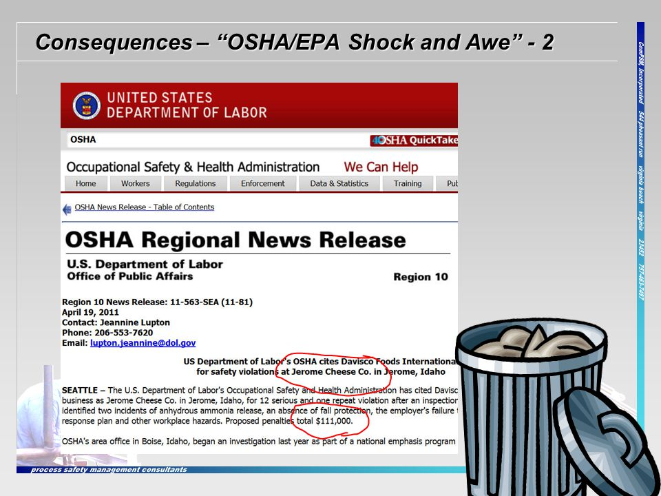 """Consequences – """"OSHA/EPA Shock and Awe"""" - 2 5"""