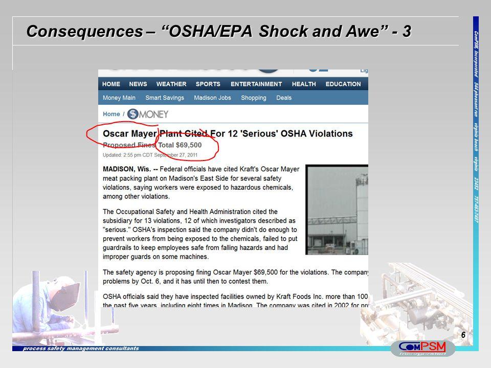 """Consequences – """"OSHA/EPA Shock and Awe"""" - 3 6"""