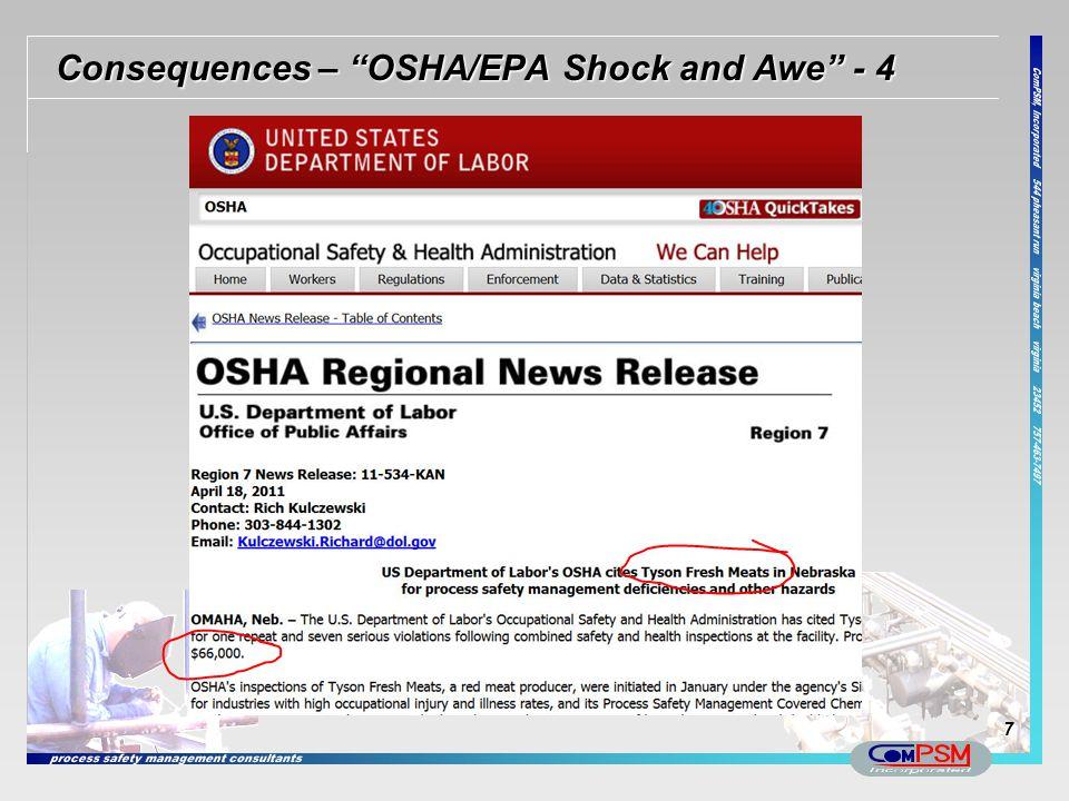 """Consequences – """"OSHA/EPA Shock and Awe"""" - 4 7"""