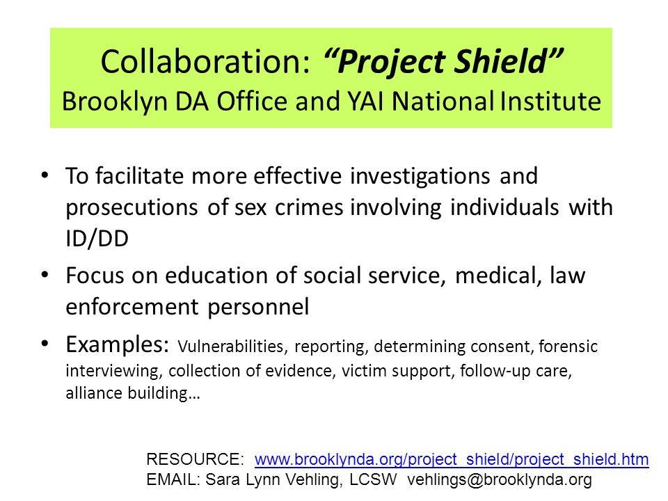Collaboration: Project Shield Brooklyn DA Office and YAI National Institute To facilitate more effective investigations and prosecutions of sex crimes involving individuals with ID/DD Focus on education of social service, medical, law enforcement personnel Examples: Vulnerabilities, reporting, determining consent, forensic interviewing, collection of evidence, victim support, follow-up care, alliance building… RESOURCE: www.brooklynda.org/project_shield/project_shield.htmwww.brooklynda.org/project_shield/project_shield.htm EMAIL: Sara Lynn Vehling, LCSW vehlings@brooklynda.org