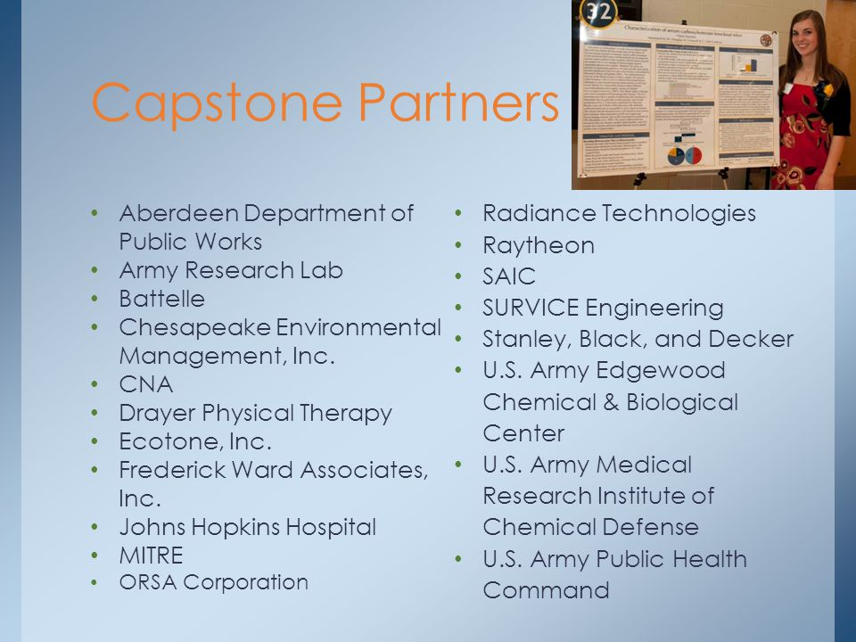 Capstone Partners Aberdeen Department of Public Works Army Research Lab Battelle Chesapeake Environmental Management, Inc.