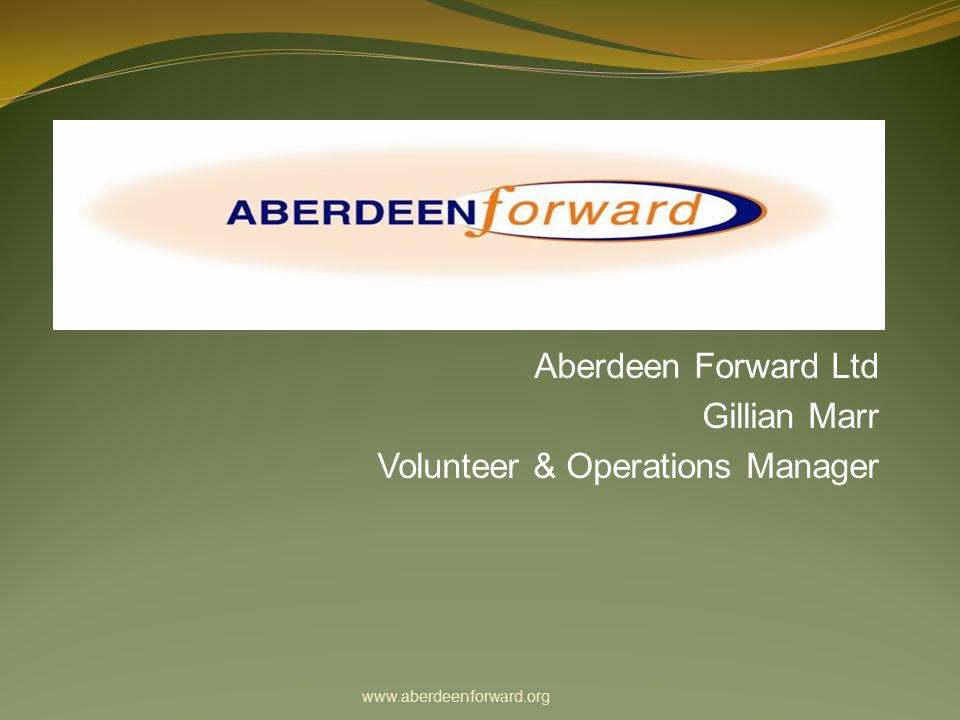 Overview Aberdeen Forward background Funding Organisation Structure Volunteers Sustainable Communities Centre Summary of projects Master Composter Programme Aberdeen City Community Composting Aberdeenshire Community Composting Composting at Work & Schools Real Nappy Project Transition Aberdeen Creative Waste Exchange Refurbishment Project Volunteering Opportunities Why People Volunteer Opening times www.aberdeenforward.org