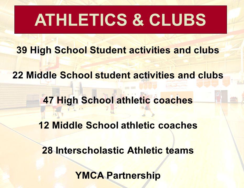 ATHLETICS & CLUBS 39 High School Student activities and clubs 22 Middle School student activities and clubs 47 High School athletic coaches 12 Middle
