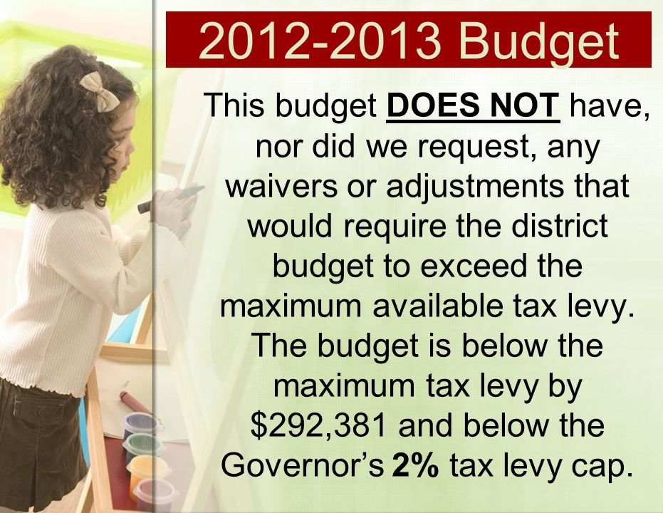 This budget DOES NOT have, nor did we request, any waivers or adjustments that would require the district budget to exceed the maximum available tax levy.