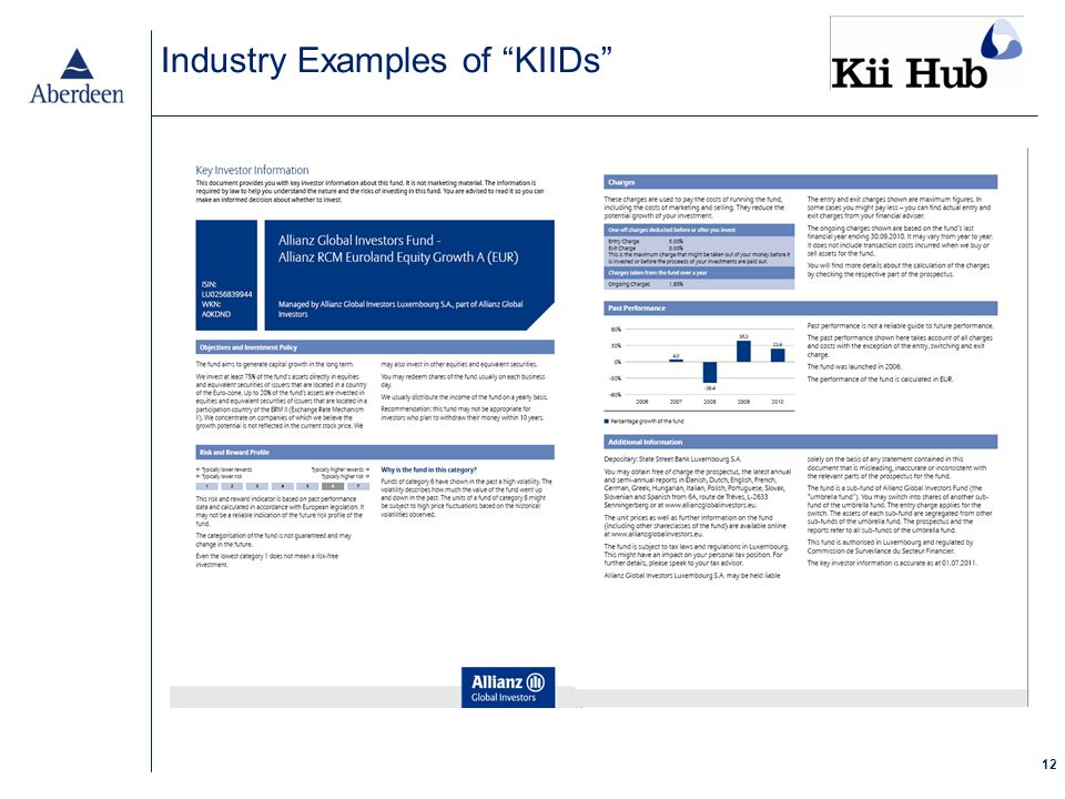 12 Industry Examples of KIIDs
