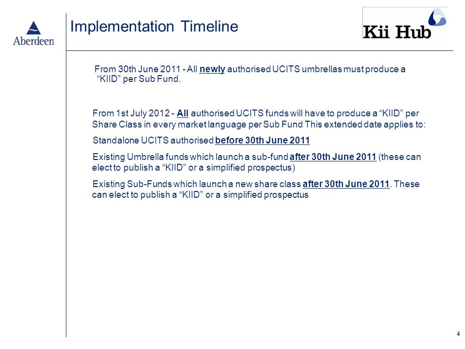 4 Implementation Timeline From 30th June 2011 - All newly authorised UCITS umbrellas must produce a KIID per Sub Fund.