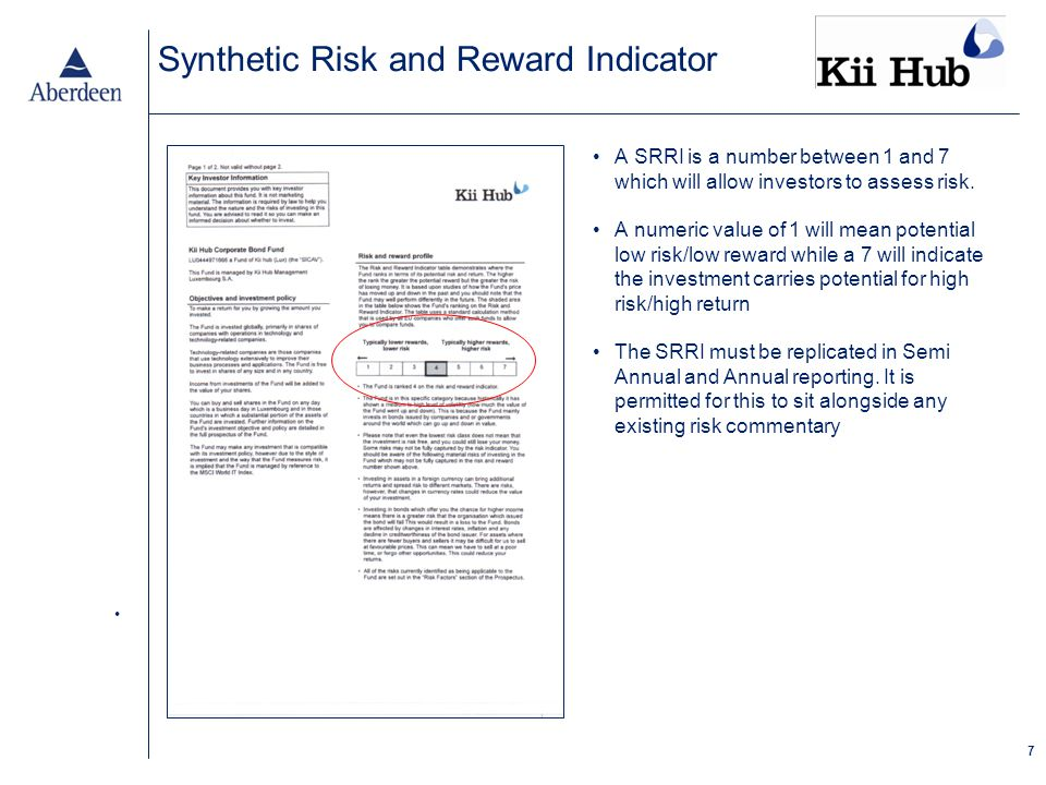 7 Synthetic Risk and Reward Indicator A SRRI is a number between 1 and 7 which will allow investors to assess risk.