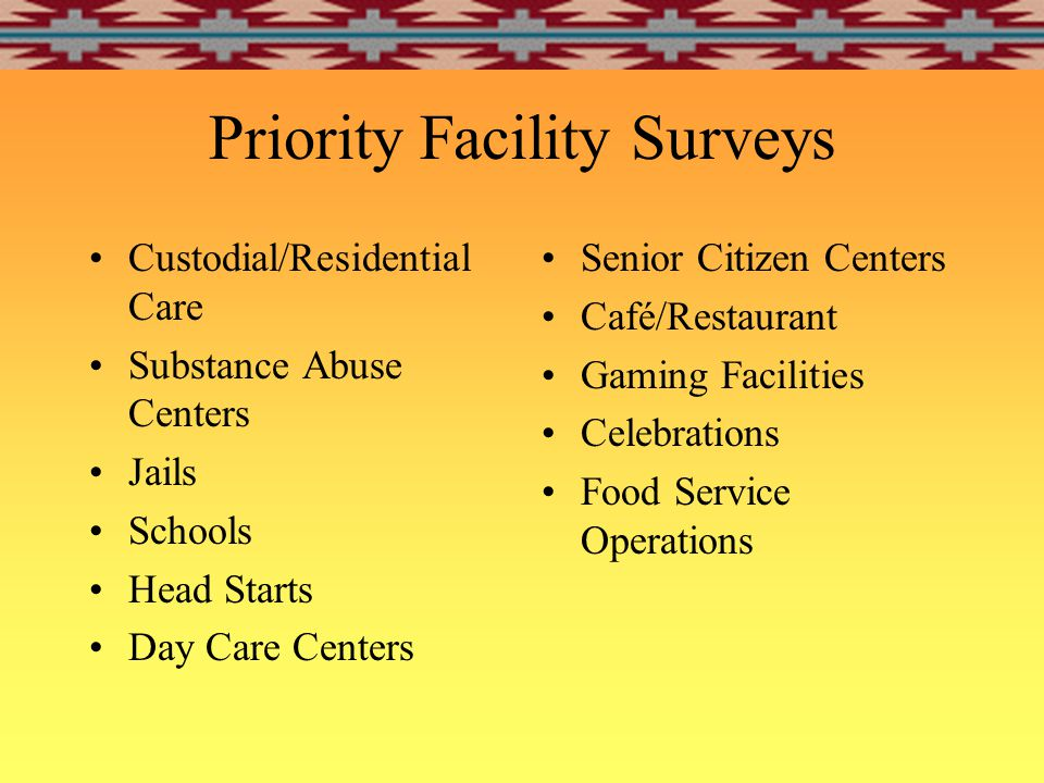 Facility Survey Data IHS Direct Service Sites