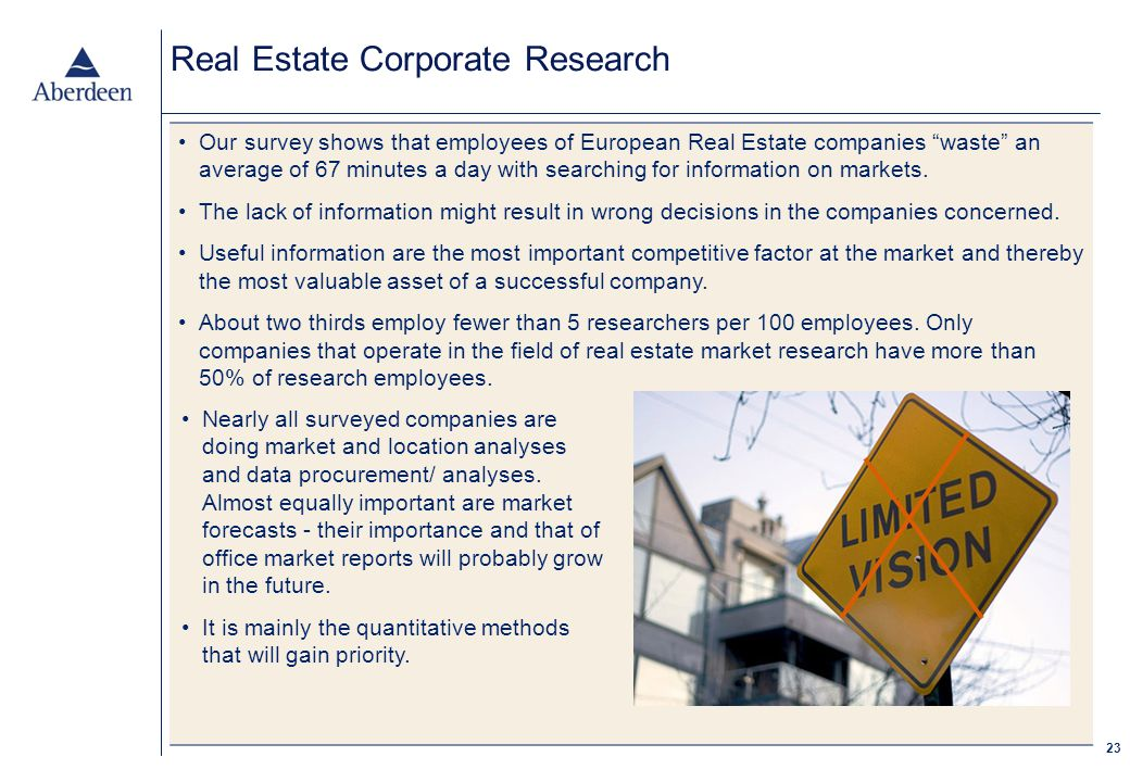 23 Real Estate Corporate Research Our survey shows that employees of European Real Estate companies waste an average of 67 minutes a day with searching for information on markets.