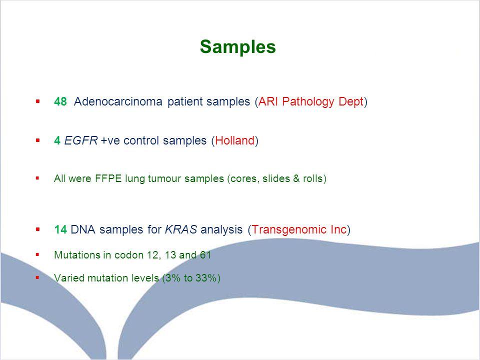 Samples  48 Adenocarcinoma patient samples (ARI Pathology Dept)  4 EGFR +ve control samples (Holland)  All were FFPE lung tumour samples (cores, sl