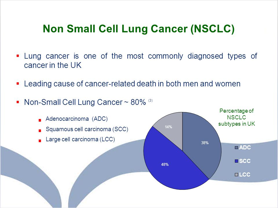 Non Small Cell Lung Cancer (NSCLC)  Lung cancer is one of the most commonly diagnosed types of cancer in the UK  Leading cause of cancer-related dea
