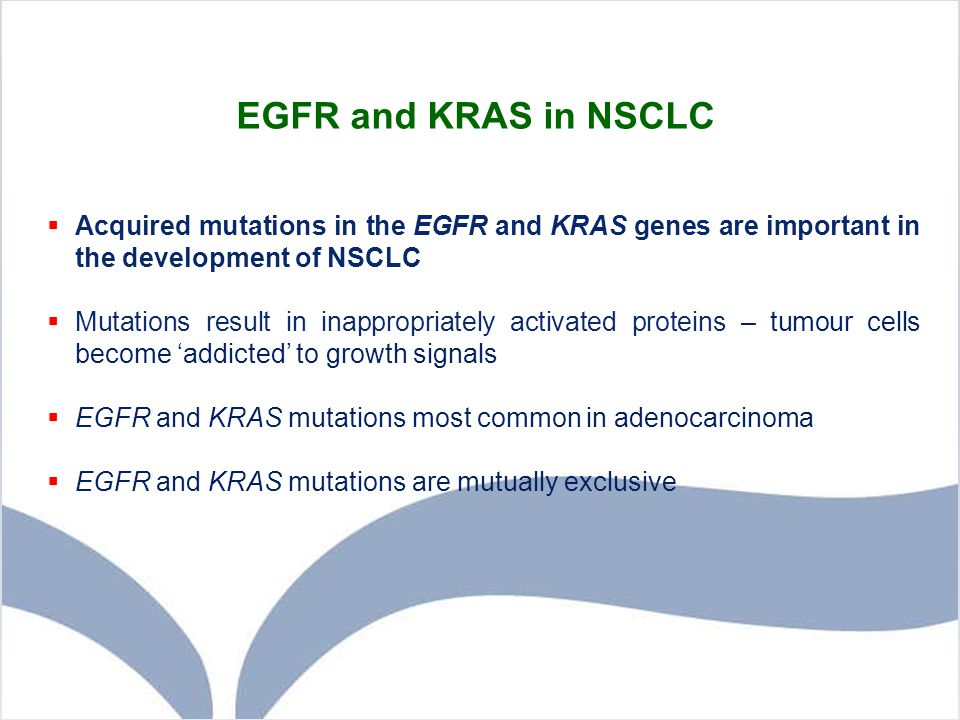 EGFR and KRAS in NSCLC  Acquired mutations in the EGFR and KRAS genes are important in the development of NSCLC  Mutations result in inappropriately