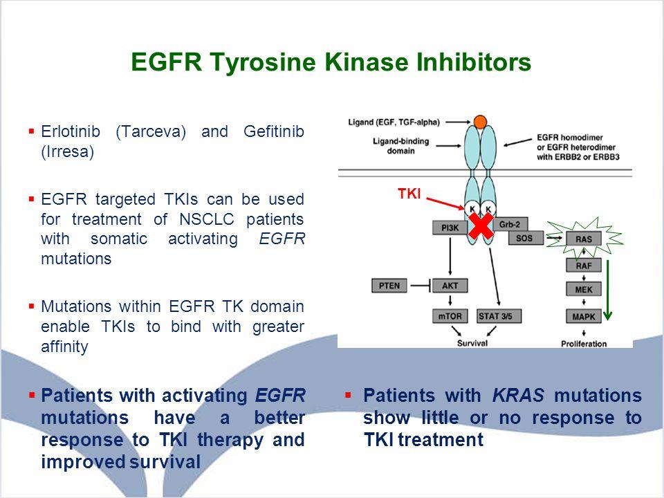 EGFR Tyrosine Kinase Inhibitors  Erlotinib (Tarceva) and Gefitinib (Irresa)  EGFR targeted TKIs can be used for treatment of NSCLC patients with som