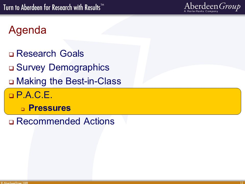© AberdeenGroup 2009 12 Agenda  Research Goals  Survey Demographics  Making the Best-in-Class  P.A.C.E.