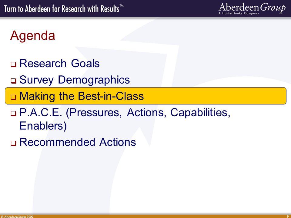 © AberdeenGroup 2009 9 Agenda  Research Goals  Survey Demographics  Making the Best-in-Class  P.A.C.E.