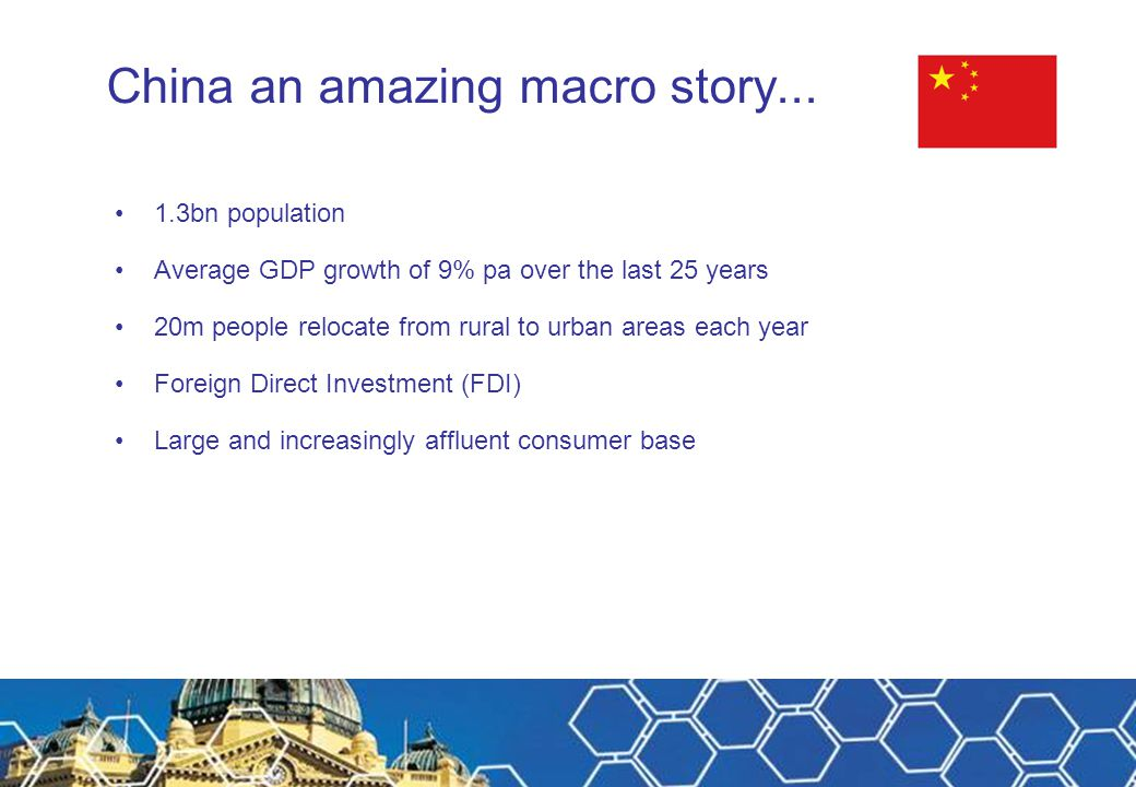 China an amazing macro story... 1.3bn population Average GDP growth of 9% pa over the last 25 years 20m people relocate from rural to urban areas each