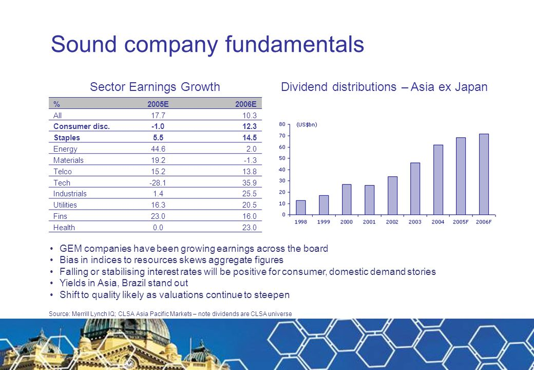 Sound company fundamentals GEM companies have been growing earnings across the board Bias in indices to resources skews aggregate figures Falling or stabilising interest rates will be positive for consumer, domestic demand stories Yields in Asia, Brazil stand out Shift to quality likely as valuations continue to steepen Sector Earnings Growth Dividend distributions – Asia ex Japan %2005E2006E All17.710.3 Consumer disc.12.3 Staples5.514.5 Energy44.62.0 Materials19.2-1.3 Telco15.213.8 Tech-28.135.9 Industrials1.425.5 Utilities16.320.5 Fins23.016.0 Health0.023.0 Source: Merrill Lynch IQ; CLSA Asia Pacific Markets – note dividends are CLSA universe