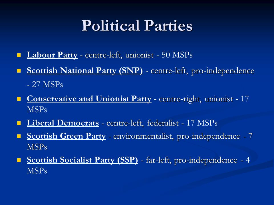 Political Parties - centre-left, unionist - Labour Party - centre-left, unionist - 50 MSPs - centre-left, pro-independence - Scottish National Party (