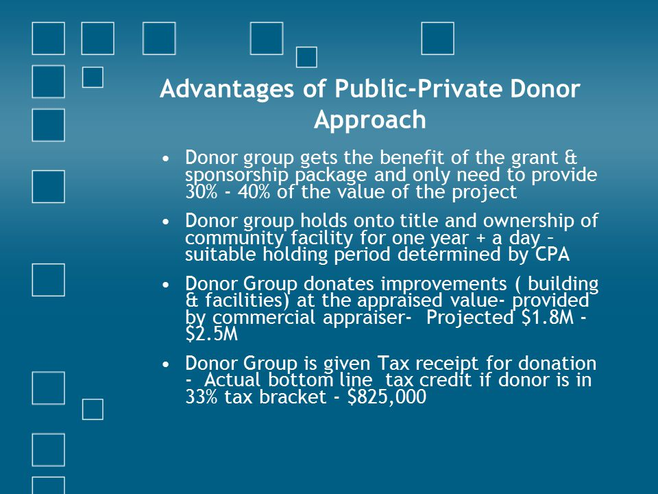 Advantages of Public-Private Donor Approach Donor group gets the benefit of the grant & sponsorship package and only need to provide 30% - 40% of the value of the project Donor group holds onto title and ownership of community facility for one year + a day – suitable holding period determined by CPA Donor Group donates improvements ( building & facilities) at the appraised value- provided by commercial appraiser- Projected $1.8M - $2.5M Donor Group is given Tax receipt for donation - Actual bottom line tax credit if donor is in 33% tax bracket - $825,000