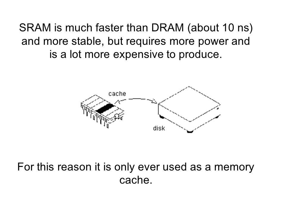 SRAM is much faster than DRAM (about 10 ns) and more stable, but requires more power and is a lot more expensive to produce.
