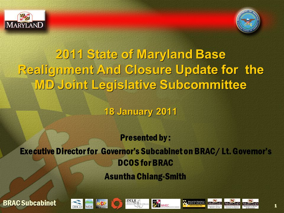 BRAC Subcabinet Presentation Overview  Maryland BRAC snapshot  BRAC Job Creation  Challenges/Continuing Needs  Addressing BRAC Needs  Maryland BRAC snapshot  BRAC Job Creation  Challenges/Continuing Needs  Addressing BRAC Needs 2