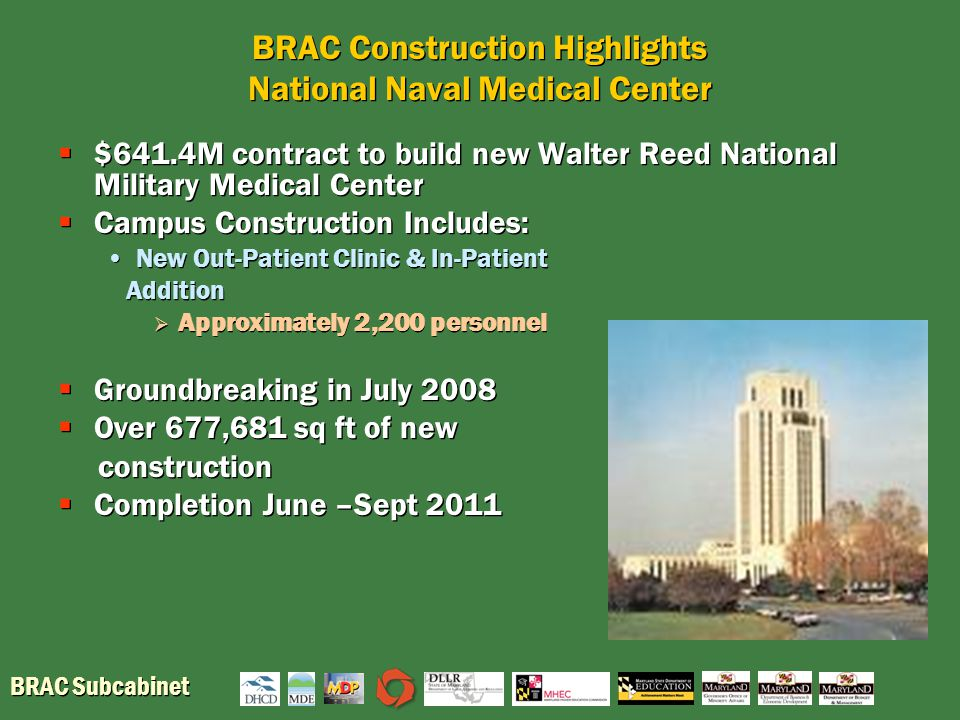 BRAC Subcabinet BRAC Construction Highlights National Naval Medical Center  $641.4M contract to build new Walter Reed National Military Medical Center  Campus Construction Includes: New Out-Patient Clinic & In-Patient Addition  Approximately 2,200 personnel  Groundbreaking in July 2008  Over 677,681 sq ft of new construction  Completion June –Sept 2011  $641.4M contract to build new Walter Reed National Military Medical Center  Campus Construction Includes: New Out-Patient Clinic & In-Patient Addition  Approximately 2,200 personnel  Groundbreaking in July 2008  Over 677,681 sq ft of new construction  Completion June –Sept 2011