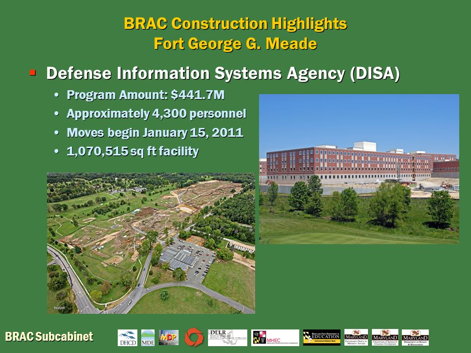 BRAC Subcabinet BRAC Construction Highlights Fort George G. Meade  Defense Information Systems Agency (DISA) Program Amount: $441.7M Approximately 4,