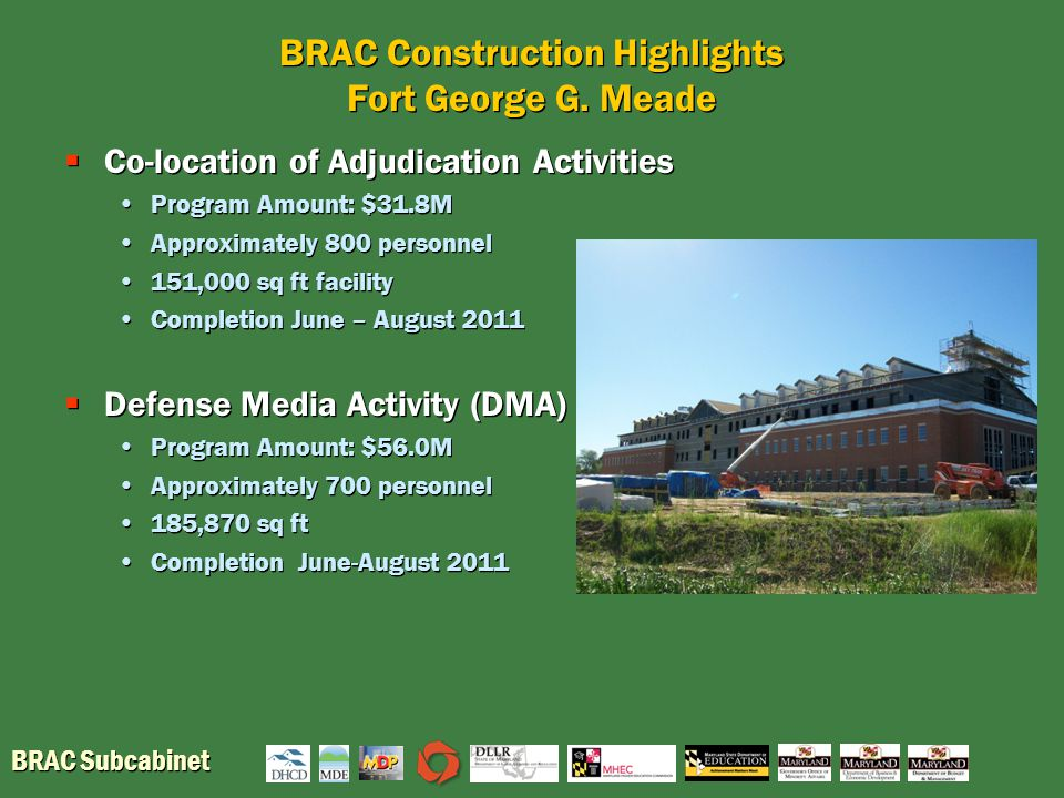 BRAC Subcabinet BRAC Construction Highlights Fort George G.
