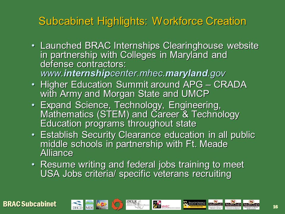 BRAC Subcabinet Subcabinet Highlights: Workforce Creation Launched BRAC Internships Clearinghouse website in partnership with Colleges in Maryland and