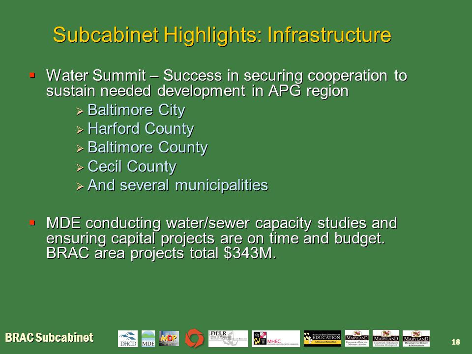 BRAC Subcabinet Subcabinet Highlights: Infrastructure  Water Summit – Success in securing cooperation to sustain needed development in APG region  Baltimore City  Harford County  Baltimore County  Cecil County  And several municipalities  MDE conducting water/sewer capacity studies and ensuring capital projects are on time and budget.