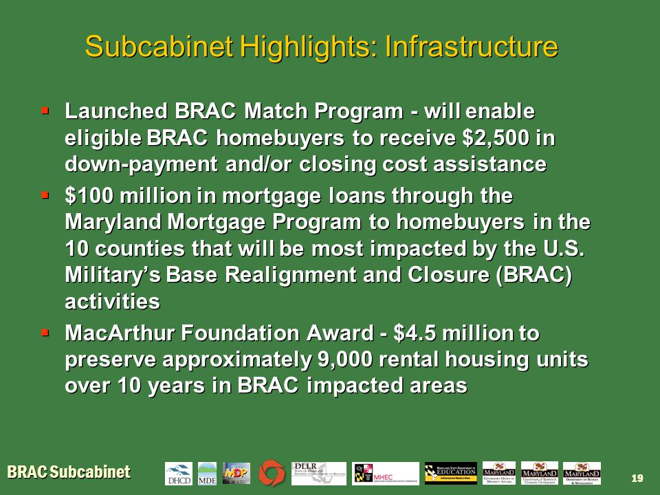 BRAC Subcabinet Subcabinet Highlights: Infrastructure  Launched BRAC Match Program - will enable eligible BRAC homebuyers to receive $2,500 in down-p