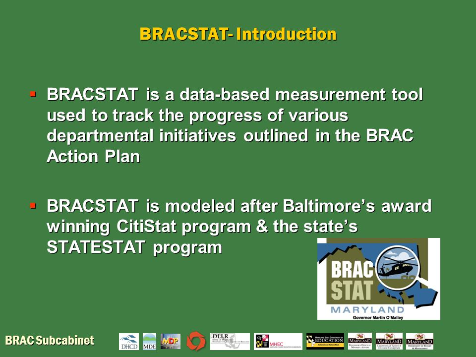 BRAC Subcabinet BRACSTAT- Introduction  BRACSTAT is a data-based measurement tool used to track the progress of various departmental initiatives outl