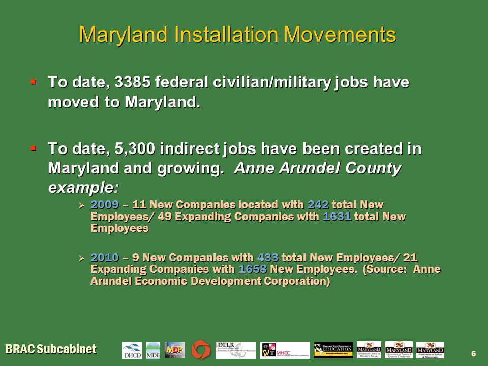 BRAC Subcabinet Maryland Installation Movements  To date, 3385 federal civilian/military jobs have moved to Maryland.  To date, 5,300 indirect jobs