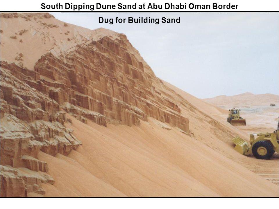 South Dipping Dune Sand at Abu Dhabi Oman Border Dug for Building Sand