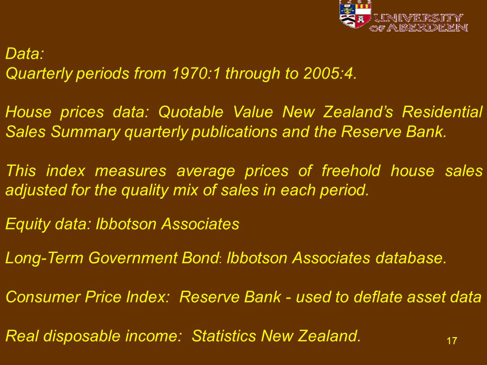 17 Data: Quarterly periods from 1970:1 through to 2005:4.