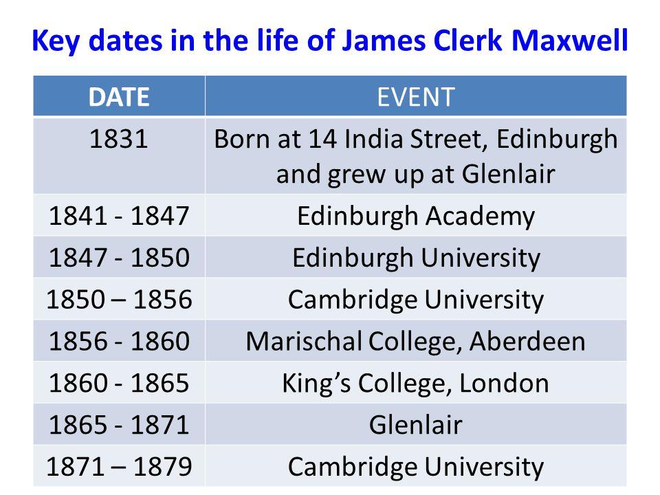 Key dates in the life of James Clerk Maxwell DATEEVENT 1831Born at 14 India Street, Edinburgh and grew up at Glenlair 1841 - 1847Edinburgh Academy 184