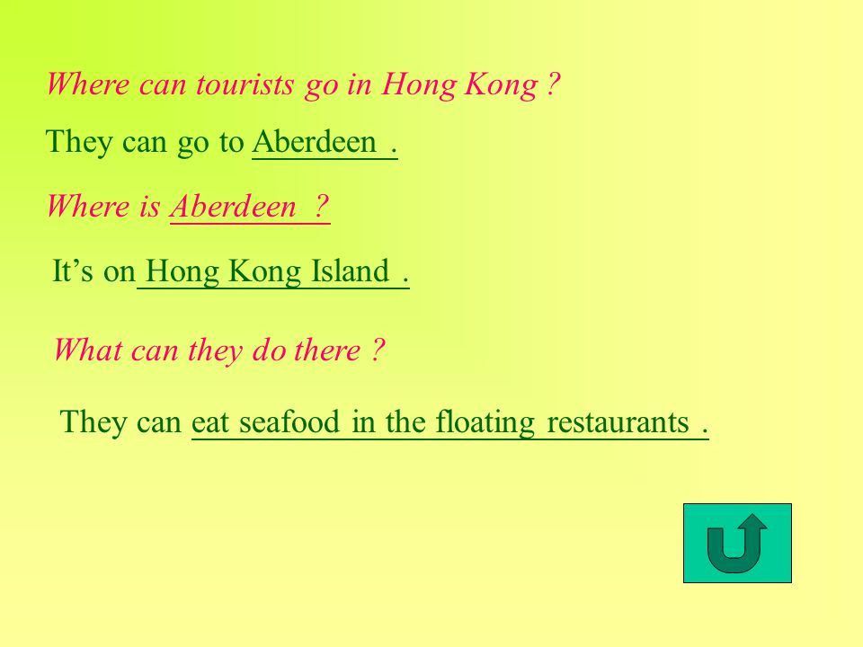 Where can tourists go in Hong Kong . They can go to Aberdeen.